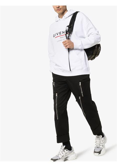 felpa in cotone bianco con cappuccio e logo Givenchy nero GIVENCHY | Maglieria Moda | BMJ05430AF100