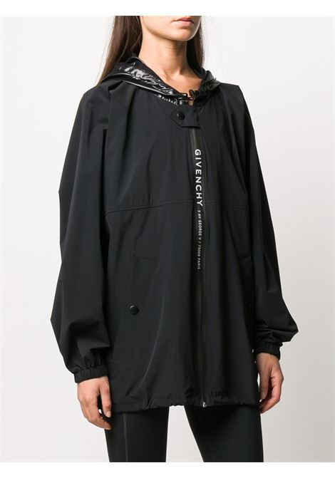 black oversized nylon windbreaker with adjustable hoodie and zippd logo GIVENCHY |  | BW008R12J3001