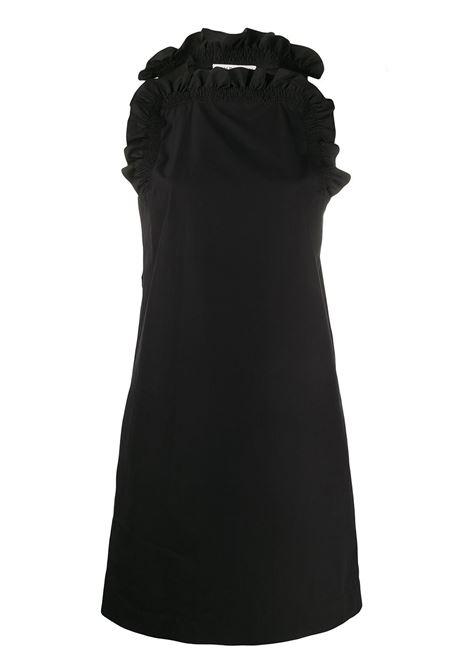 abito nero in cotone smanicato con rouches e taschine laterali GIVENCHY | Abiti | BW20UG111N001