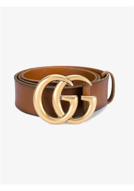Cintura in pelle di vitello marrone 4cm con fibbia dorata Gucci GG GUCCI | Cinture | 406831-CVE0T2535