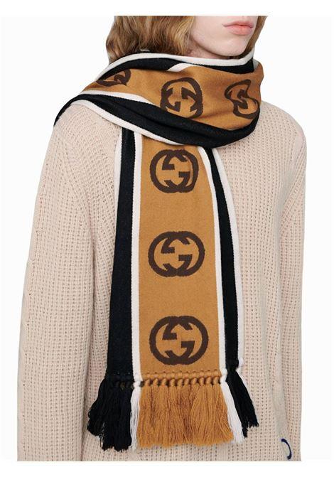 fascia in lana bicolor con logo GG GUCCI | Sciarpa | 575605-4G1841000