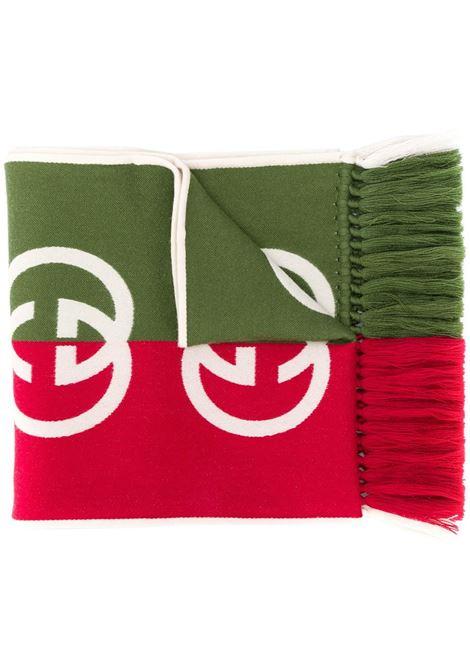 sciarpa in lana bicolore con logo GG bianco GUCCI | Sciarpa | 575606-4G1843174