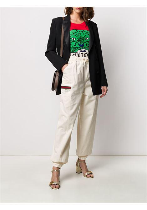 pantalone cargo avorio in cotone con elastico in vita GUCCI | Pantaloni | 598818-XJCBV9381
