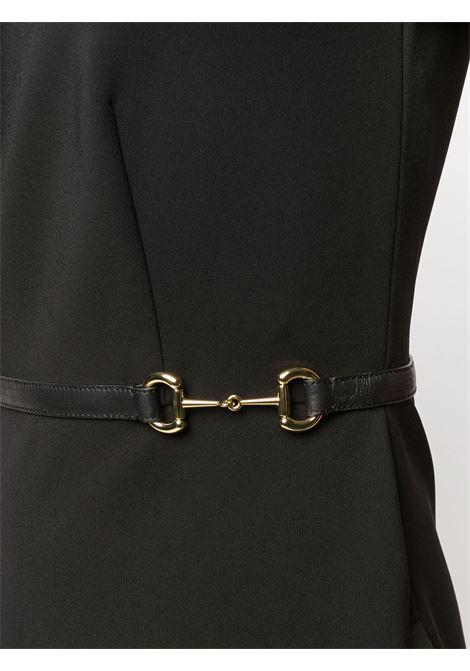 abito nero in jersey con collo svasato e maniche con rouches GUCCI | Abiti | 604896-XJBYO1000