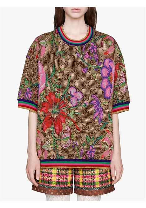 shrot sleeves Gucci Monogram flower print sweatshirt GUCCI |  | 606083-XKA7F2006