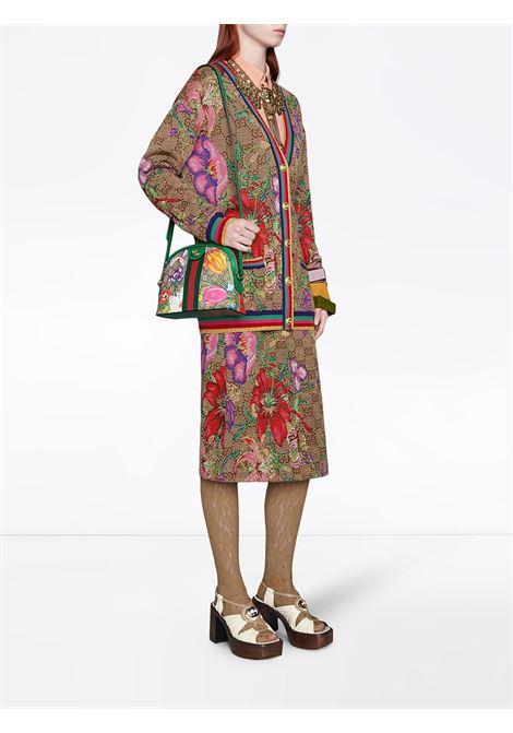 gonna a vita alta in lana e cotone con stampa floreale Gucci Flora GUCCI | Gonne | 606084-XKA7F2006