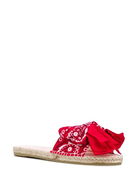 jute and cotton flat slides with red bandana print  MANEBI' |  | F 9.4 J0ROSSO