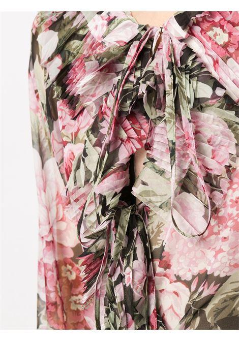 Camicetta rosa con volant a stampa floreale P.A.R.O.S.H. | Camicie | D311234-POCHIC800
