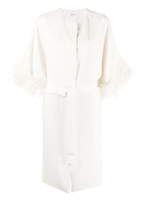 white feather-embellished belted coat featuring a collarless design P.A.R.O.S.H. |  | D430268P-PANTERS002