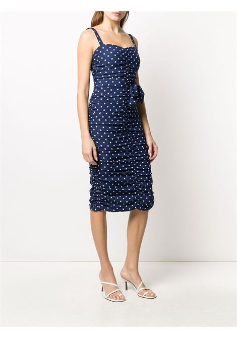Midnight blue stretch silk polka dot print dress   P.A.R.O.S.H. |  | D723076-SOIS812
