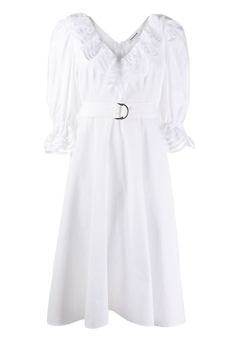 White cotton belted lace-trim midi dress featuring a ruffle trimming P.A.R.O.S.H. |  | D723163-COJOUR001