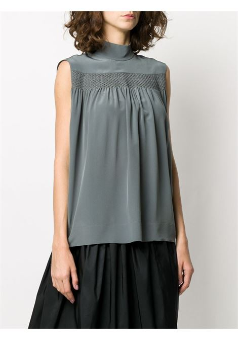 Blue sleeveless smocked silk blouse featuring a mock neck ROCHAS |  | ROPQ560560-RQ280100035