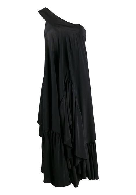Abito monospalla drappeggiato in seta nera con allacciatura sulla spalla Rochas | Abiti | ROWQ507626-RQ280100001