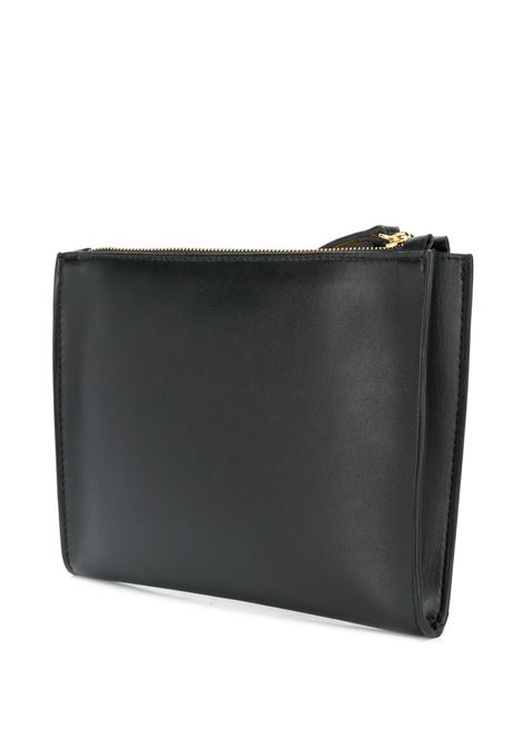clutch nera in eco-pelle con logo perforato STELLA MC CARTNEY | Clutch | 502892-W85421000