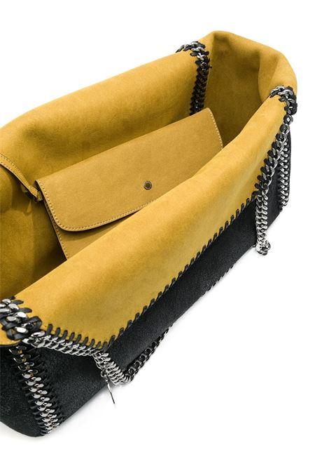 Falabella in eco-pelle scamosciata reversibile nero/senape con catena argentata STELLA MC CARTNEY | Borsa | 507185-W81871000