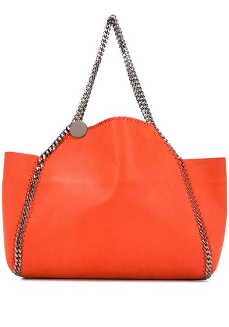 orange eco-suede leather Falabella tote bag with silver dark chain trim STELLA MC CARTNEY |  | 507185-W81876561