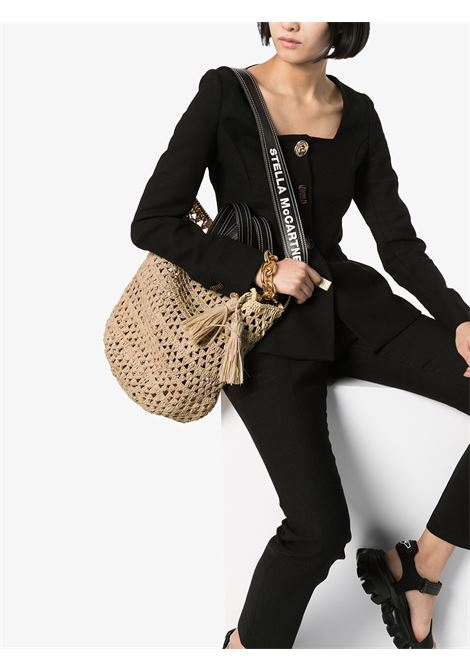 natural color straw Stella McCartney bag with black eco-leather details STELLA MC CARTNEY |  | 700025-W86609740