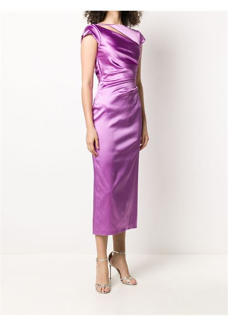 Lilac purple Bora gathered midi dress featuring ruched detailing TALBOT RUNHOF |  | BORA3-1200803