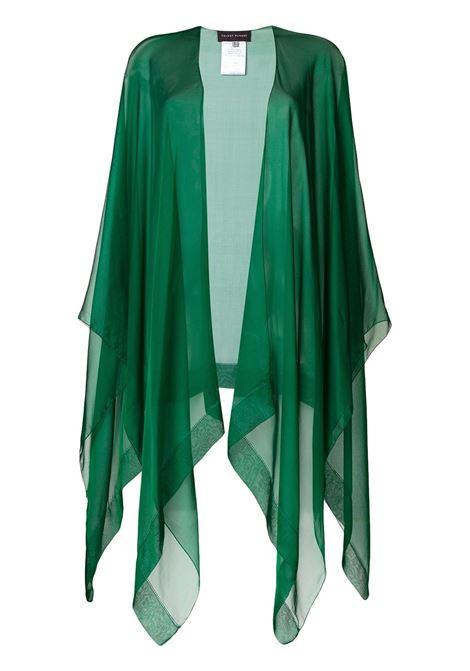 Emerald green silk Hint poncho TALBOT RUNHOF |  | HINT11-SF25220