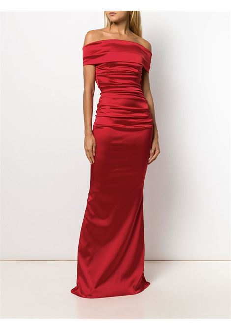 Red Rosso bandeau dress featuring an off the shoulder design TALBOT RUNHOF |  | ROSSO15-1200330