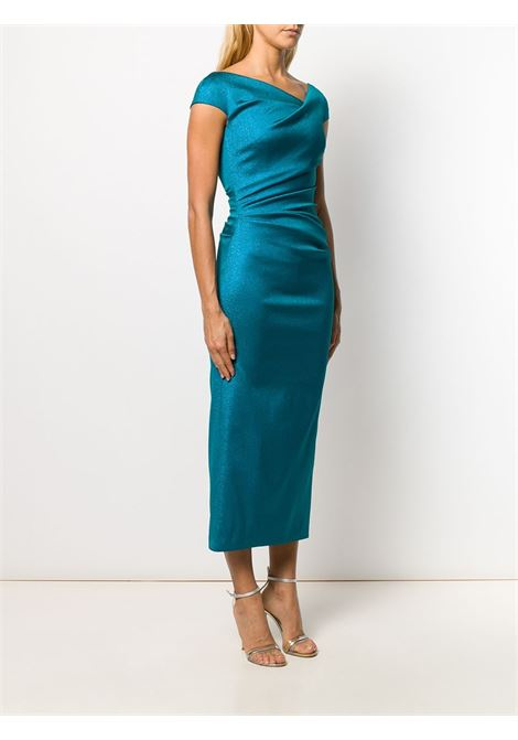 Blue Roya dress featuring an asymmetric neckline TALBOT RUNHOF |  | ROYA1-DG15451