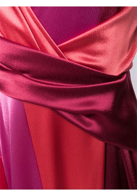Red and pink Solberg gown featuring a v-neck TALBOT RUNHOF |  | SOLBERG5-WT23369