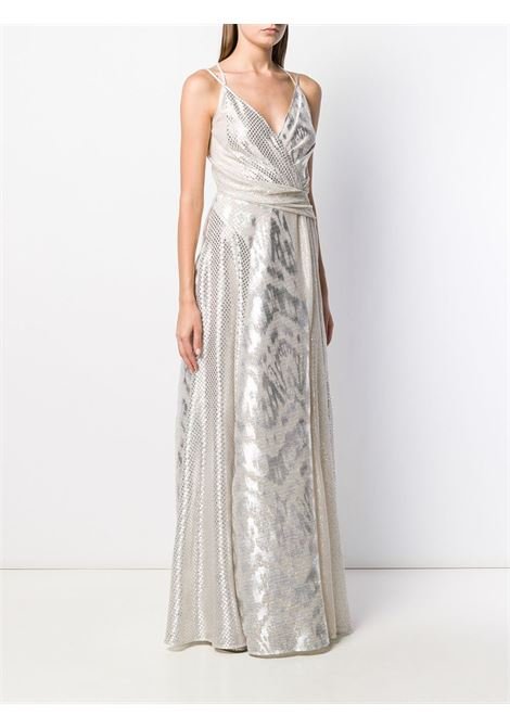 Silver-toned Solberg dress featuring a v-neck TALBOT RUNHOF |  | SOLBERG6-FK15025