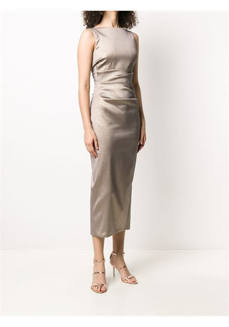 Brown Sonett midi dress featuring gathered detailing TALBOT RUNHOF |  | SONETT1-DG15189
