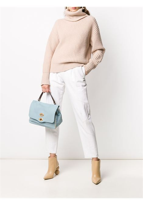 small sky blue Postina tote bag in nabouk leather Zanellato |  | 6138-4372