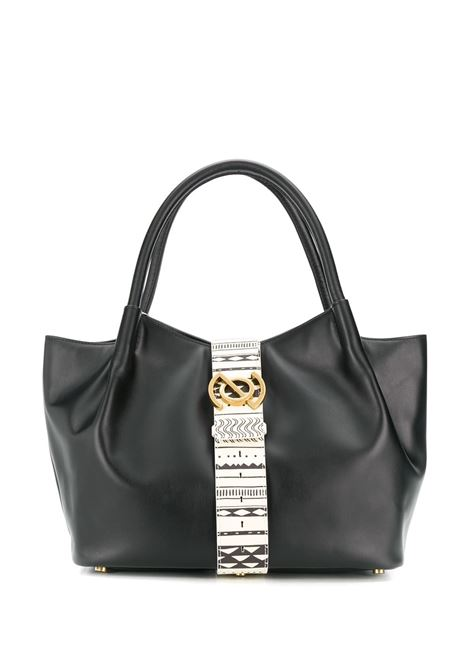 black leather Zoe bag with white leatehr ethnical print central band Zanellato |  | 6414-PNBC