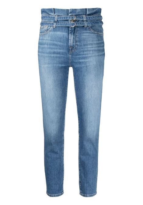 Indigo blue cotton stretch high waisted skinny jeans  7 FOR ALL MANKIND |  | JSQAR510RT-SLIM PAPERBAGMID BLUE