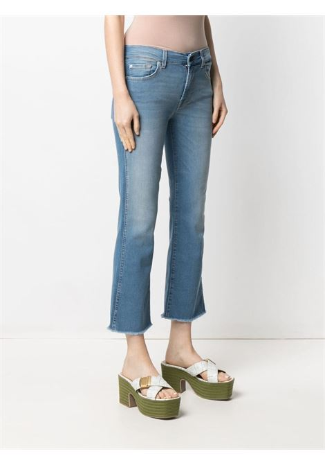 Jeans cropped bootcut in cotone elasticizzato azzurro con vita bassa 7 FOR ALL MANKIND | Jeans | JSYRA84RNE-CROPPED BOOTLIGHT BLUE