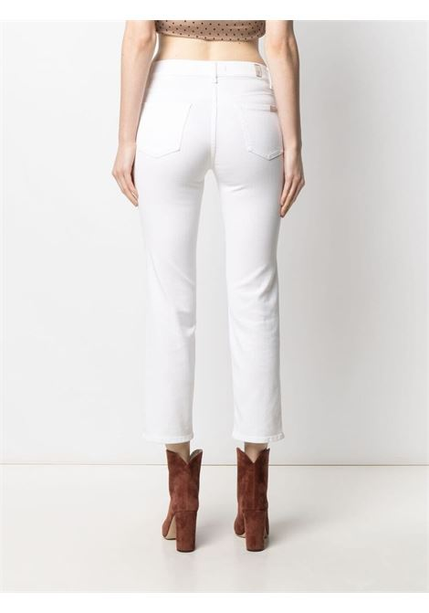 Jeans cropped The Straight in misto cotone bianco a vita alta 7 FOR ALL MANKIND | Pantaloni | JSYXB660PD-STRAIGHT CROPWHITE