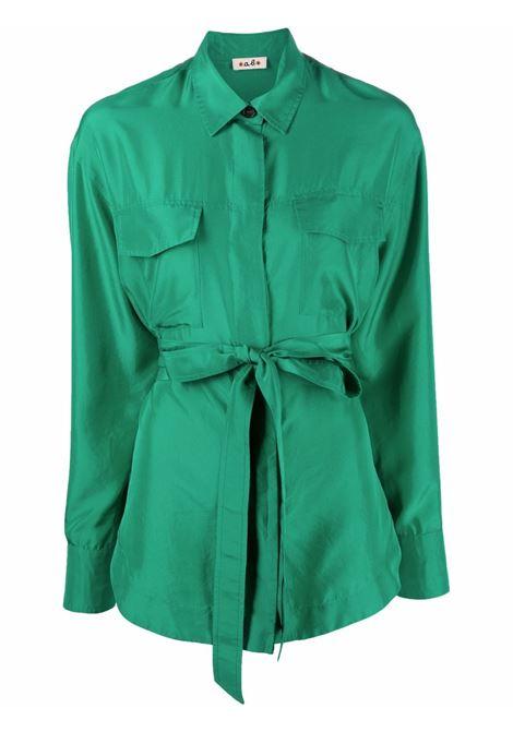 Camicia allacciata in vita  in seta verde bosco A.B. | Camicie | ABC012-V1211630