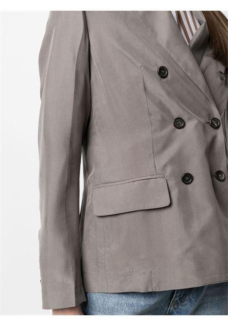 Blazer doppiopetto in seta grigio fango A.B. | Giacche | ABG003-V1211240