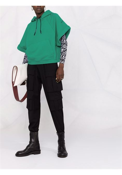 Felpa con cappuccio in cotone verde a maniche corte A.B.   Felpe   ABJM015-J1325630