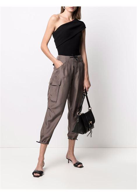 Pantaloni affusolati con coulisse in seta grigia con vita paperbag A.B. | Pantaloni | ABP020-V1211240