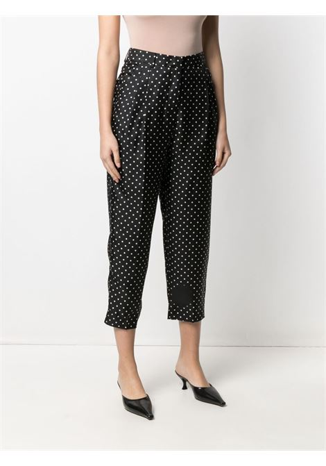 Black silk polka-dot print cropped trousers  ALBERTO BIANI |  | CC802-SE313390