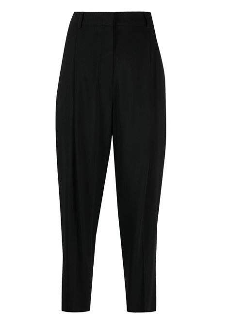 Black cropped straight-leg trousers featuring pleat detailing ALBERTO BIANI |  | CC802-VI008190