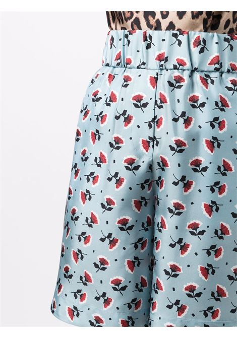 Shorts al ginocchio in seta blu celeste con stampa floreale  ALBERTO BIANI |  | CC846-SE313187