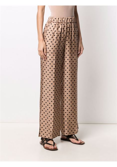 Pantaloni marroni e neri in seta a pois con piega a vita alta ALBERTO BIANI | Pantaloni | CC872-SE313468