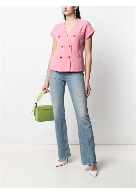 Flamingo-pink V-neck double-breasted blouse  ALBERTO BIANI |  | GG808-AC002847