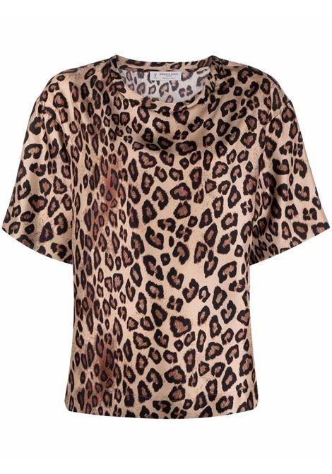 T-shirt leopardata in seta marrone con stampa leopardata all-over ALBERTO BIANI | Camicie | MM871-SE310666