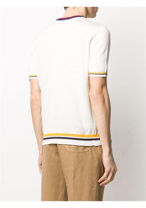 t-shirt bianca in lino e cotone lavorato a maglia ALTEA   T-shirt   205127127