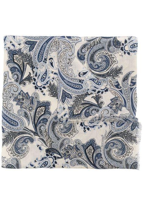 sciarpa leggera in cotone beige in fantasia paisley multicolore blu ALTEA | Sciarpe e foulards | 215002401