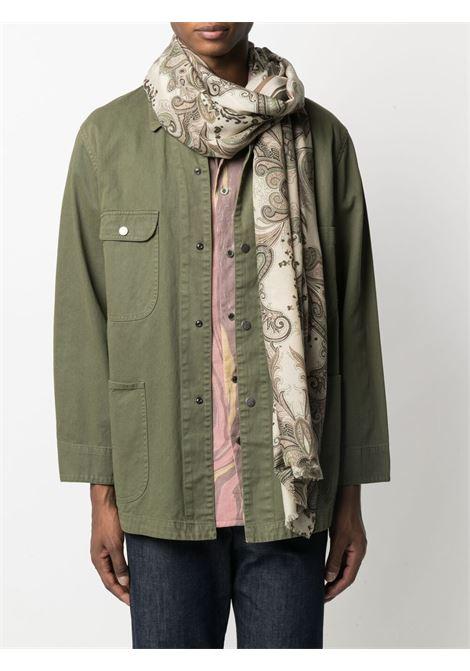 Sciarpa 80x180 sfrangiata in cotone beige in stampa paisley ALTEA | Sciarpe e foulards | 215002402