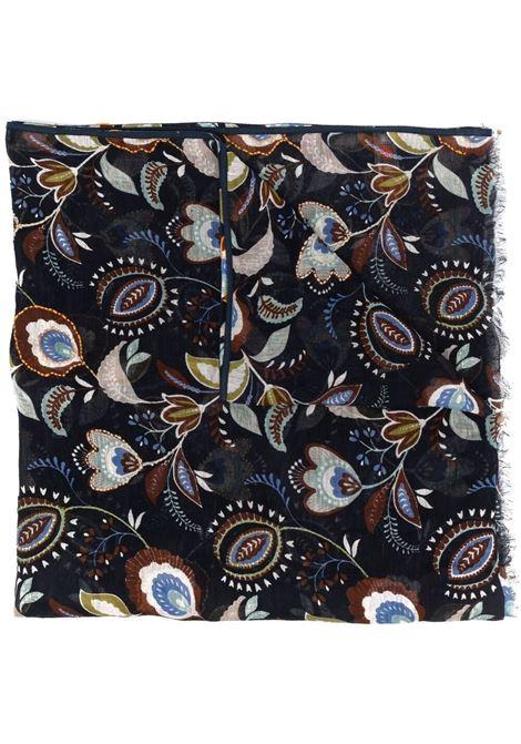 Sciarpa sfrangiata in lino e cotone con stampa paisley blu navy e multicolore ALTEA | Sciarpe e foulards | 215041001