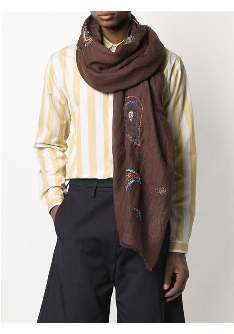 sciarpa blu multicolore in lino e cotone con stampa floreale ALTEA | Sciarpe e foulards | 215041304