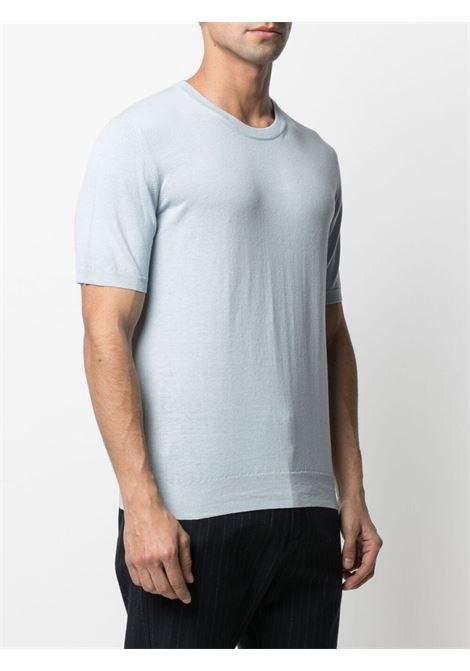 T-shirt in maglia di lino blu polvere a maniche corte ALTEA | Maglieria | 215100111
