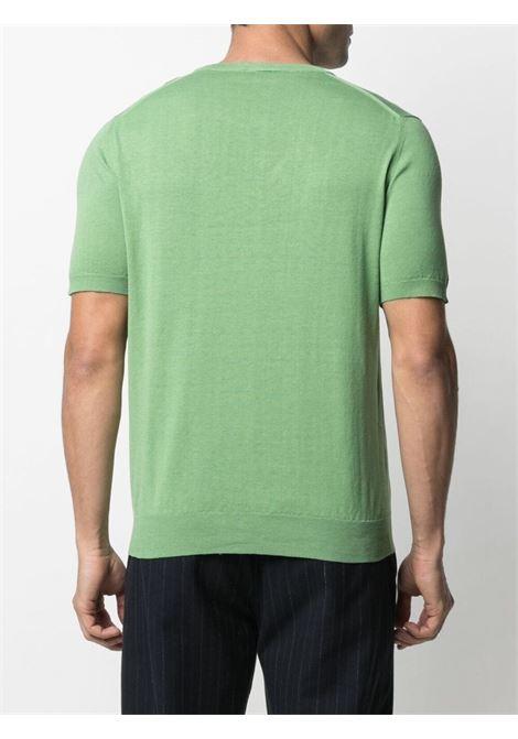T-shirt girocollo in maglia di lino verde ALTEA | Maglieria | 215100148